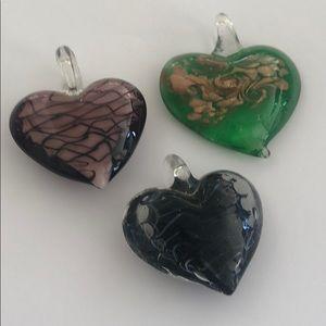Art Glass Murano Heart Pendants Collection Three 3